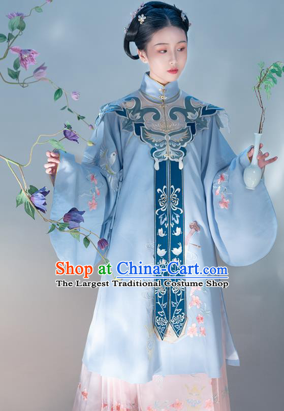 Chinese Traditional Ming Dynasty Royal Princess Embroidered Apparels Ancient Noble Lady Hanfu Dress Historical Costumes Complete Set