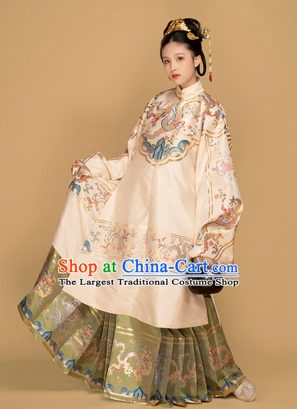 Chinese Traditional Ming Dynasty Palace Lady Embroidered Hanfu Dress Apparels Ancient Noble Woman Long Blouse and Skirt Historical Costumes Complete Set