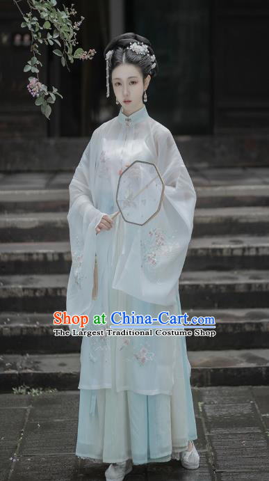 Chinese Traditional Ming Dynasty Noble Woman Embroidered Hanfu Dress Apparels Ancient Patrician Female Historical Costumes Complete Set
