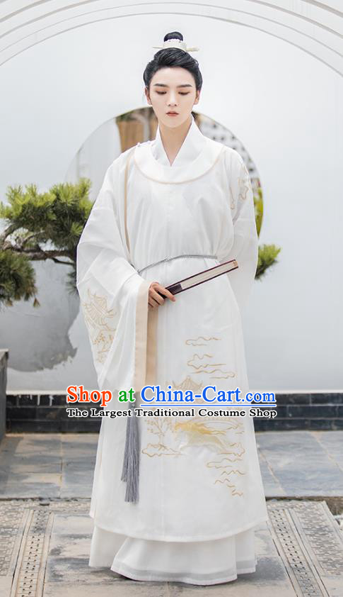 Top Chinese Traditional Song Dynasty Noble Childe Hanfu Apparels Ancient Patrician Male Historical Costumes Scholar Long Gown Shirt and Skirt Full Set