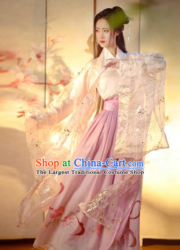 Chinese Ming Dynasty Nobility Lady Hanfu Dress Traditional Apparels Ancient Drama Goddess Historical Costumes for Women