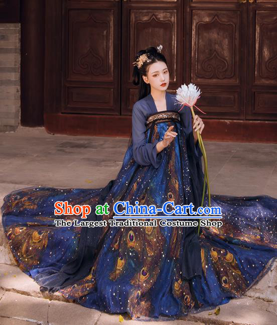 Chinese Traditional Tang Dynasty Royal Infanta Historical Costumes Ancient Princess Navy Hanfu Dress Apparels