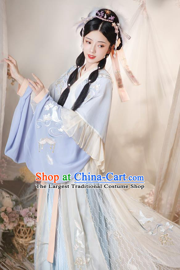 Chinese Ancient Goddess Embroidered Hanfu Dress Apparels Traditional Jin Dynasty Patrician Princess Historical Costumes Complete Set