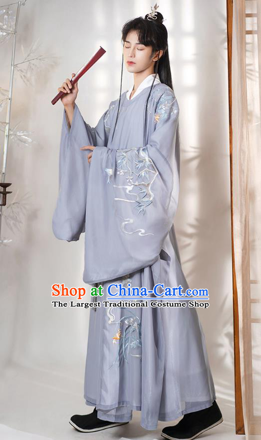 Chinese Ancient Nobility Childe Embroidered Hanfu Clothing Apparels Traditional Ming Dynasty Royal Prince Historical Costumes for Men