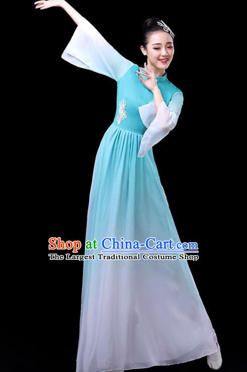 Traditional Chinese Umbrella Dance Costumes Stage Show Fan Dance Garment Classical Dance Blue Dress for Women