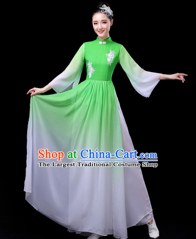 Traditional Chinese Umbrella Dance Costumes Stage Show Fan Dance Garment Classical Dance Green Dress for Women