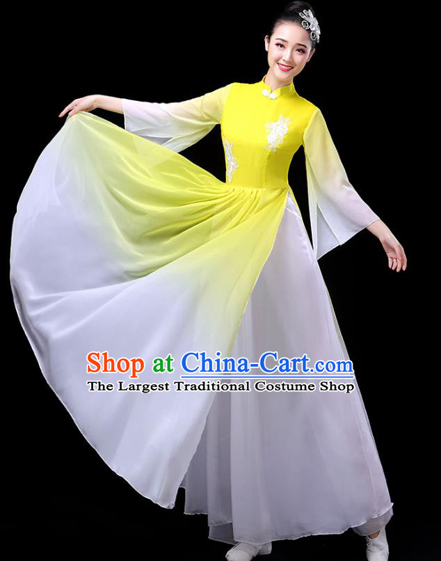 Traditional Chinese Umbrella Dance Costumes Stage Show Fan Dance Garment Classical Dance Yellow Dress for Women