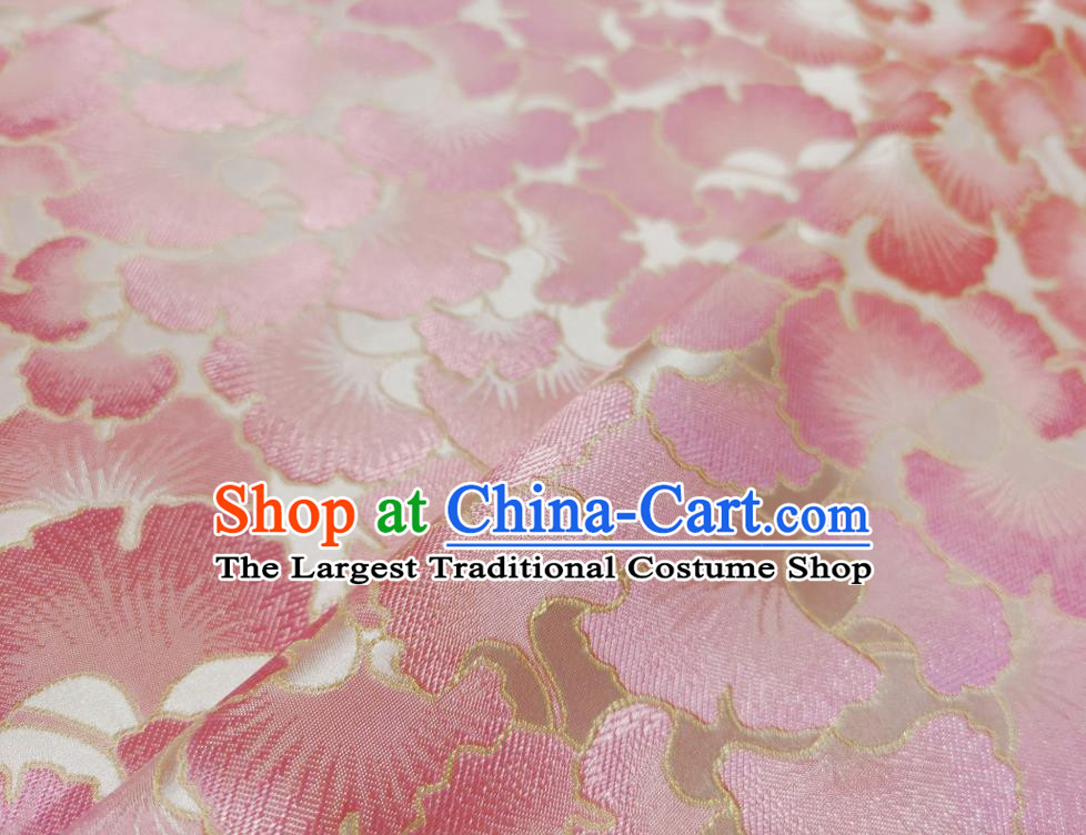 Asian Chinese Traditional Pink Ginkgo Leaf Pattern Design White Brocade Fabric Silk Tang Suit Tapestry Material