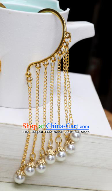 Chinese Handmade Golden Tassel Ear Accessories Decoration Traditional Hanfu Earrings for Women