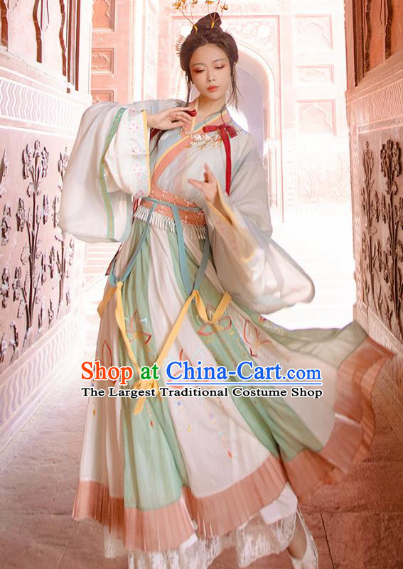 Traditional Chinese Jin Dynasty Noble Lady Hanfu Apparels Ancient Royal Princess Blouse and Skirt Historical Costumes for Women