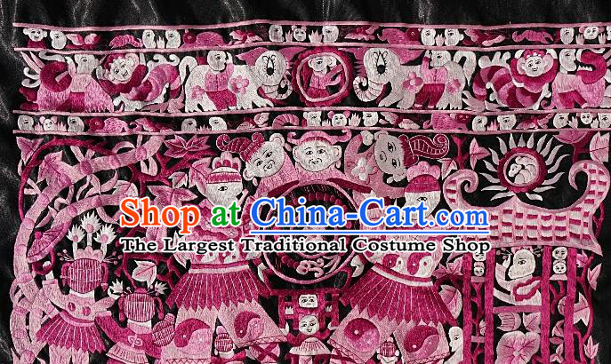 Chinese Traditional Embroidered Pink Fabric Patches Handmade Embroidery Craft Embroidering Character Applique Miao Ethnic Accessories