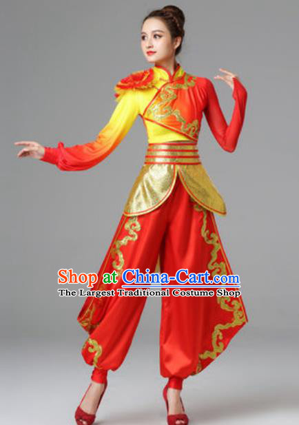 Traditional Chinese Folk Dance Red Outfits Dress Drum Dance Yangko Dance Stage Performance Costume for Women