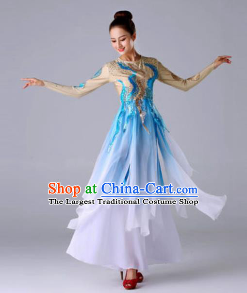 Traditional Chinese Classical Dance Blue Outfits Fan Dance Dress Umbrella Dance Stage Performance Costume for Women
