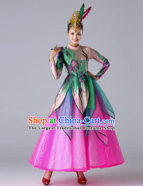 Traditional Chinese Modern Dance Outfits Classical Dance Rosy Dress Opening Dance Stage Performance Costume for Women