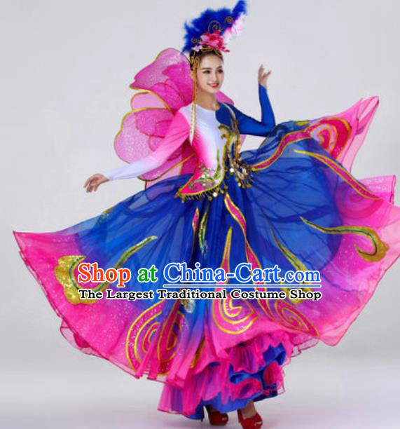 Traditional Chinese Opening Dance Outfits Classical Dance Royalblue Dress Umbrella Dance Stage Performance Costume for Women