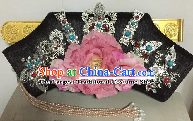 Chinese Traditional Qing Dynasty Queen Pink Peony Hair Accessories Flag Bun Drama Ancient Imperial Concubine Headwear