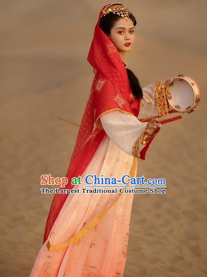 Traditional Chinese Tang Dynasty Noble Infanta Hanfu Dress Apparels Ancient Royal Princess Historical Costumes for Women