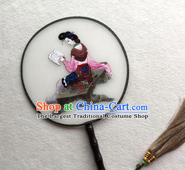 China Handmade Palace Fan Classical Dance Circular Fan Traditional Suzhou Embroidered Beauty Fan
