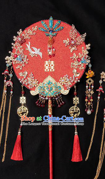 China Traditional Blueing Phoenix Red Fan Handmade Palace Fan Classical Wedding Circular Fan