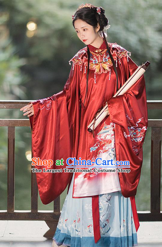 China Ancient Ming Dynasty Royal Princess Historical Clothing Traditional Hanfu Red Gown and Skirt Full Set