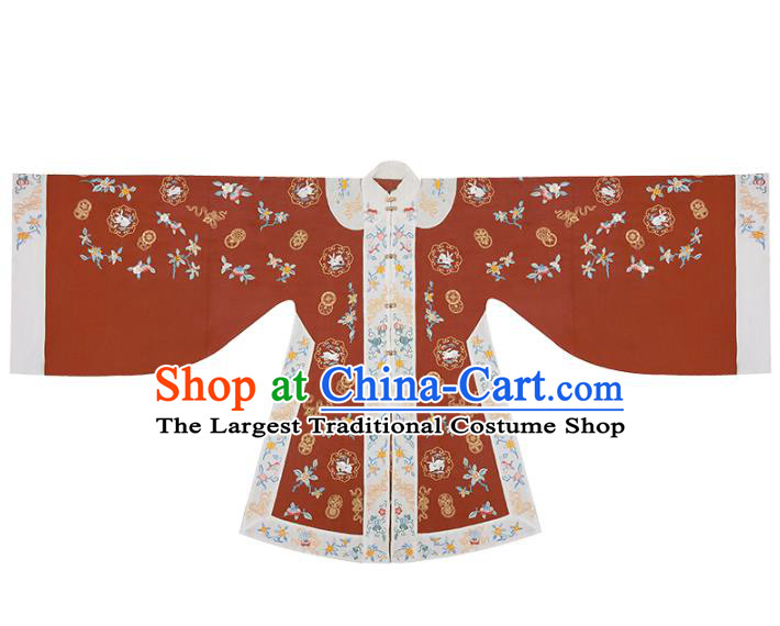 Traditional China Ancient Court Beauty Red Hanfu Dress Embroidered Apparels Ming Dynasty Patrician Lady Historical Clothing
