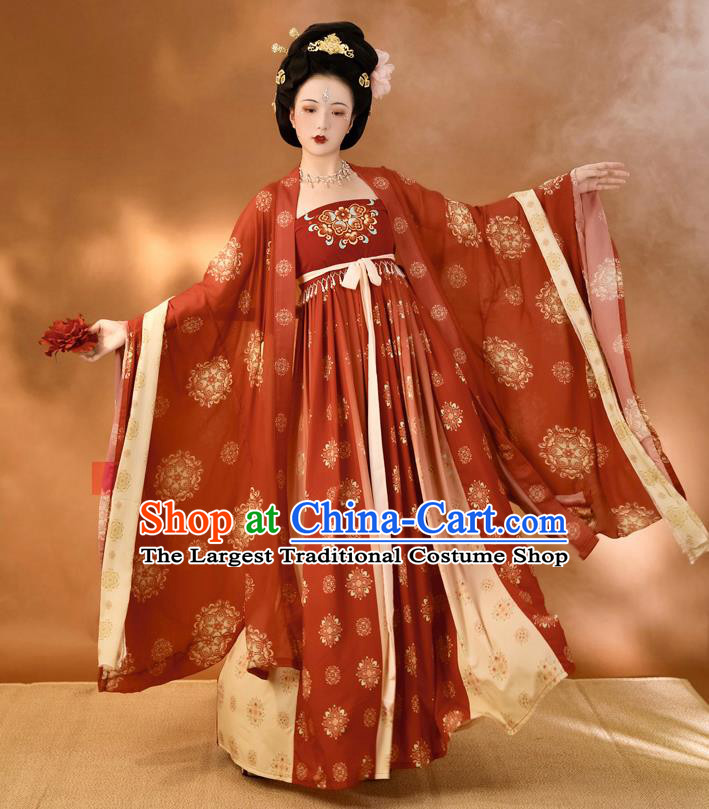 China Ancient Imperial Consort Red Hanfu Dress Traditional Tang Dynasty Court Woman Historical Clothing