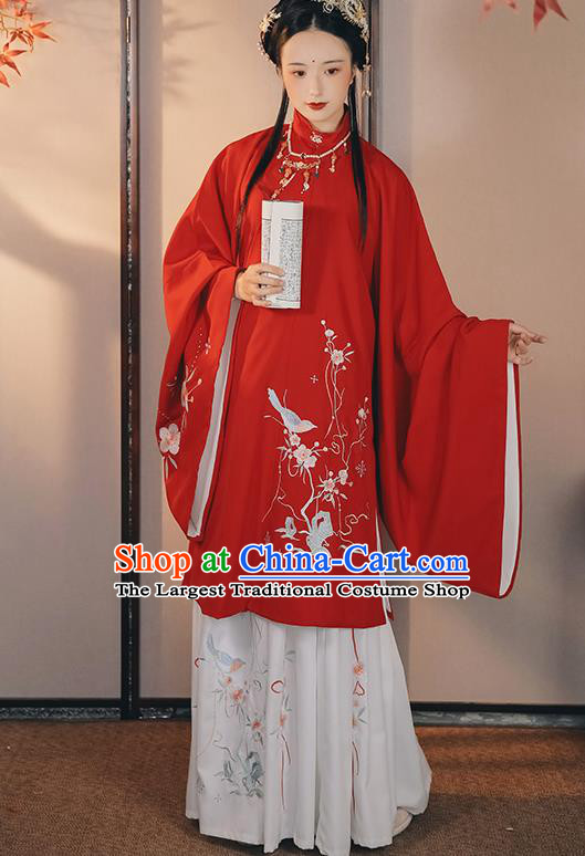 China Ancient Patrician Lady Red Hanfu Dress Traditional Ming Dynasty Historical Clothing Young Beauty Costumes