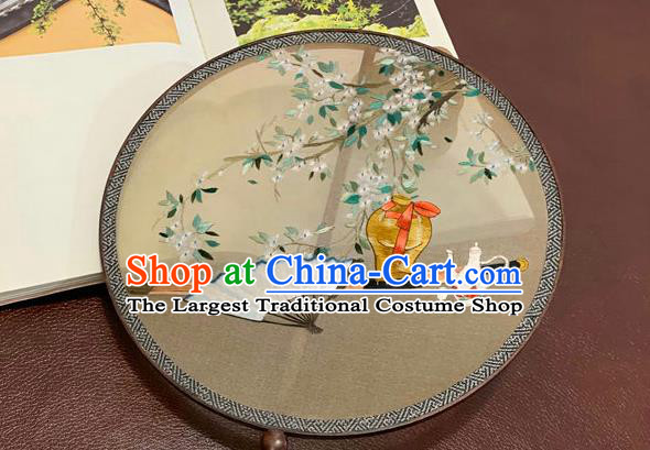 China Traditional Embroidery Silk Circular Fan Handmade Embroidered Palace Fan Classical Wedding Hanfu Fan