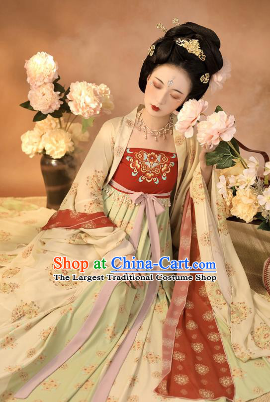 China Ancient Tang Dynasty Court Woman Hanfu Dress Traditional Imperial Consort Historical Clothing