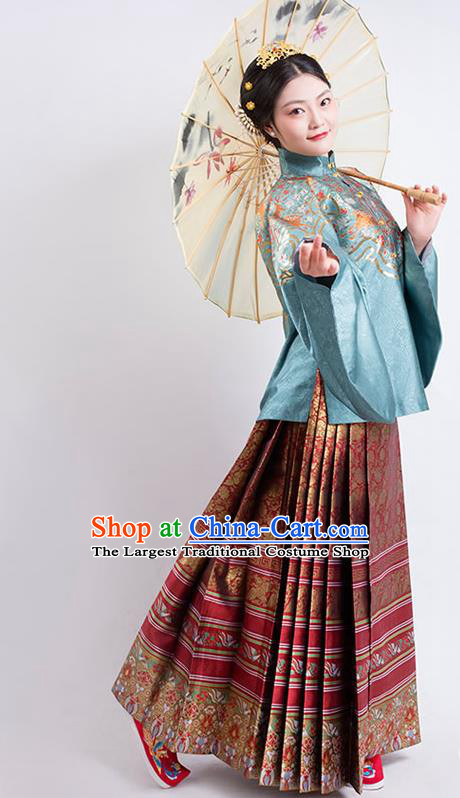 Traditional China Ancient Patrician Countess Hanfu Dress Ming Dynasty Noble Mistress Historical Clothing
