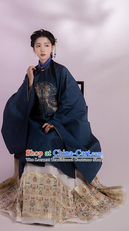 China Ming Dynasty Noble Woman Historical Clothing Ancient Patrician Female Navy Gown and Skirt Full Set