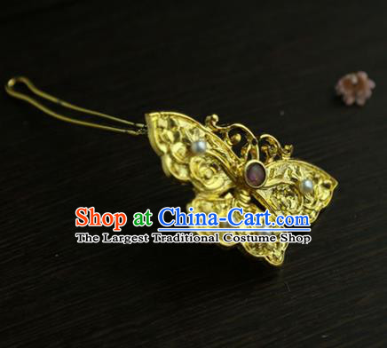 Chinese Classical Golden Butterfly Brooch National Handmade Pearls Jewelry Accessories