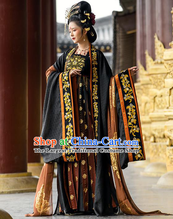 China Traditional Tang Dynasty Imperial Empress Historical Clothing Ancient Court Woman Embroidered Hanfu Dress