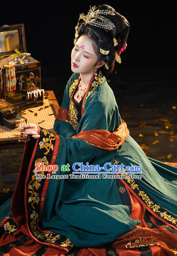 China Ancient Court Queen Embroidered Hanfu Dress Traditional Tang Dynasty Imperial Empress Historical Clothing Full Set