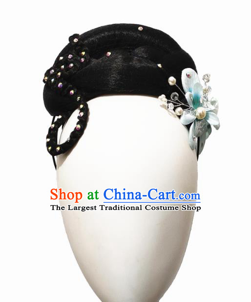 Traditional China Folk Dance Stage Show Hair Accessories Fan Dance Headwear Handmade Yangko Dance Wig Chignon