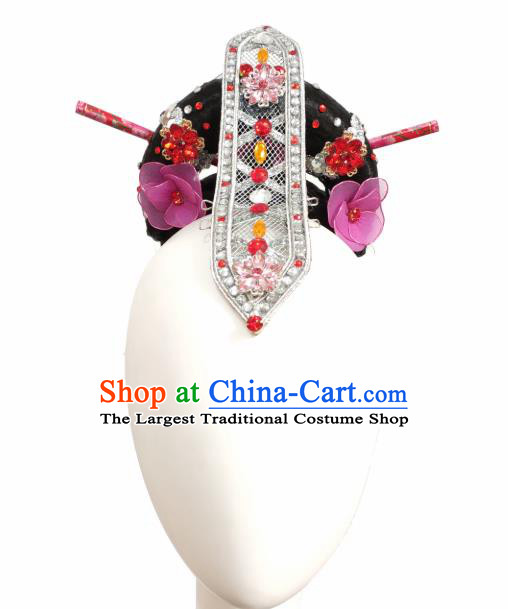 Traditional China Fan Dance Stage Show Hair Accessories Classical Dance Headwear Handmade Umbrella Dance Wig Chignon