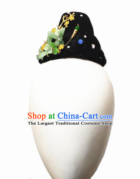 Traditional China Classical Dance Headwear Handmade Umbrella Dance Wig Chignon Fan Dance Stage Show Hair Accessories