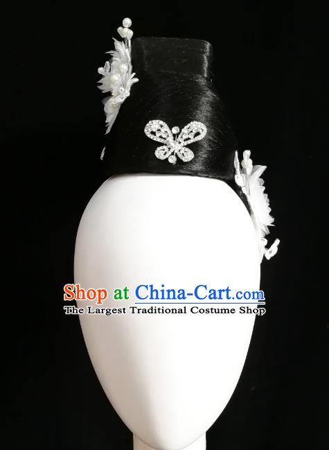 Traditional China Handmade Umbrella Dance Wig Chignon Fan Dance Stage Show Hair Accessories Classical Dance Headwear