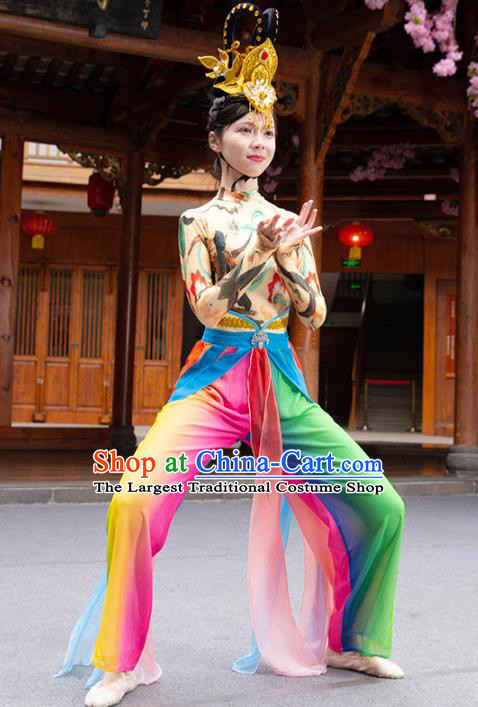 Traditional China Flying Apsaras Dance Clothing Stage Show Costumes Classical Dance Outfits