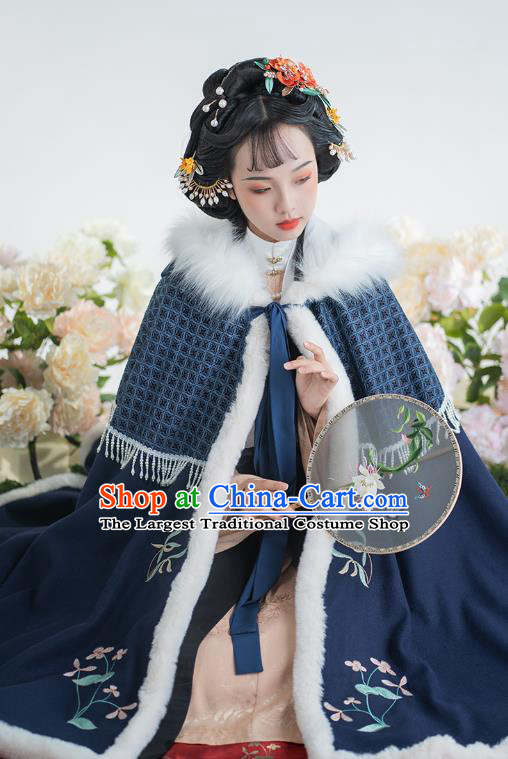China Traditional Ming Dynasty Historical Clothing Ancient Nobility Lady Hanfu Embroidered Navy Cloak