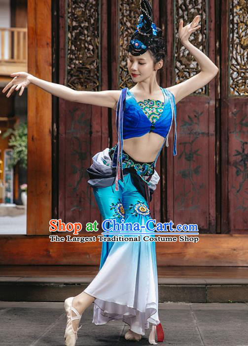 Traditional China Stage Show Costumes Flying Apsaras Dance Clothing Classical Dance Blue Outfits
