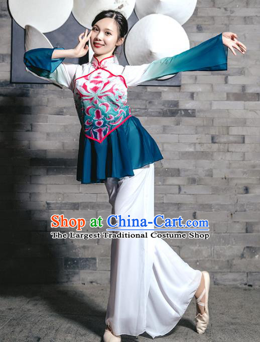 Traditional China Fan Dance Stage Show Costumes Folk Dance Clothing Yangko Dance Outfits