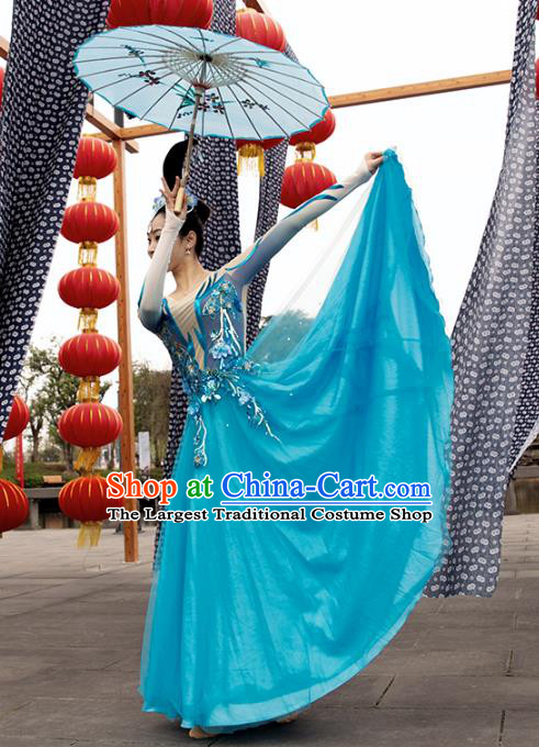 Traditional China Opening Dance Stage Show Costumes Classical Dance Clothing Umbrella Dance Blue Dress