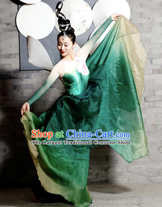 Traditional China Lotus Dance Stage Show Costumes Classical Dance Clothing Umbrella Dance Green Dress