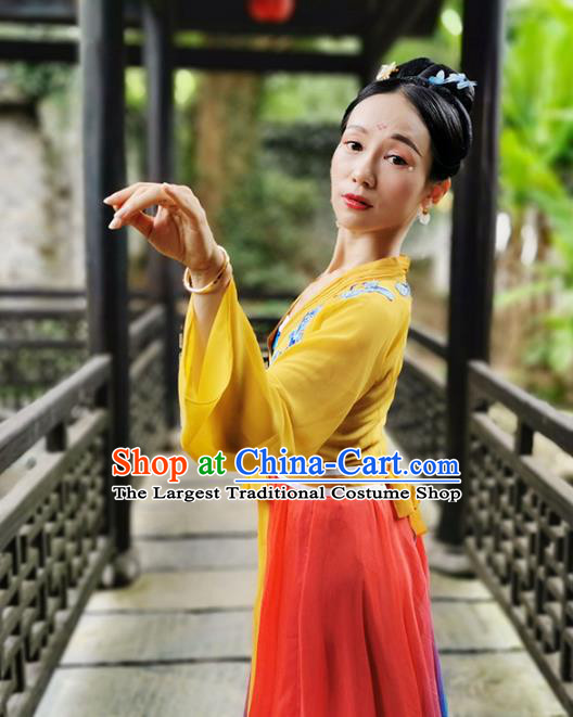 Traditional China Classical Dance Stage Show Costumes Fan Dance Clothing Opening Dance Outfits
