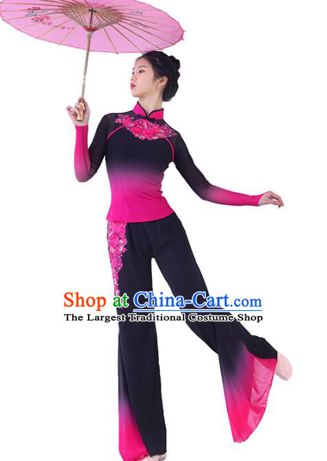 Traditional China Folk Dance Rosy Outfits Stage Show Costumes Fan Dance Clothing