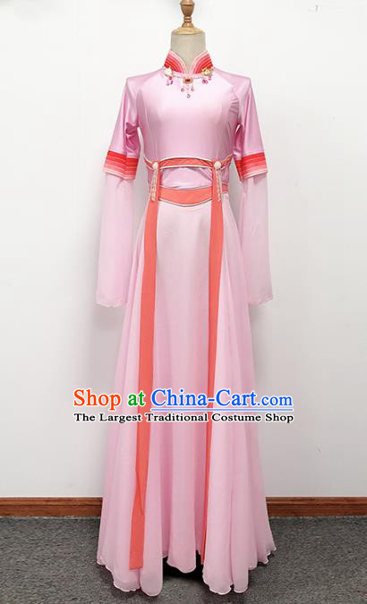 Traditional China Fan Dance Stage Show Costume Classical Dance Pink Dress