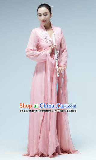 Traditional China Classical Dance Water Sleeve Pink Dress Umbrella Dance Stage Show Costume
