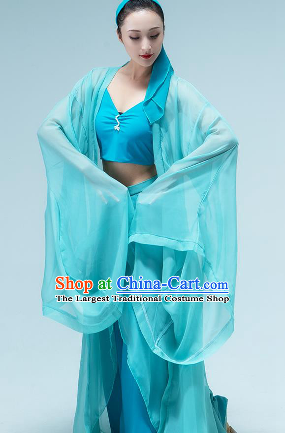 Traditional China Umbrella Dance Blue Dress Classical Dance Stage Show Green Snake Costume