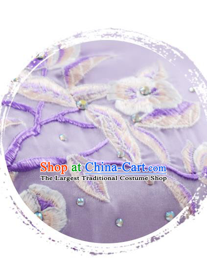 Traditional China Umbrella Dance Lilac Qipao Dress Classical Dance Stage Show Fan Dance Costume